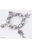 www.sayila.fr - EasyPack lot de perles bracelet avec perles de matière synthétique et de métal et pendentifs/breloques de metal, extensible, largeur intérieure ± 18cm - EP0563