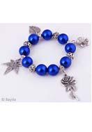 www.sayila.fr - EasyPack lot de perles bracelet avec perles de matière synthétique et de métal et pendentifs/breloques de metal, extensible, largeur intérieure ± 18cm - EP0564