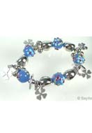 www.sayila.fr - EasyPack lot de perles bracelet avec perles de verre et de matière synthétique et pendentifs/breloques de metal, extensible, largeur intérieure ± 18,5cm - EP0569